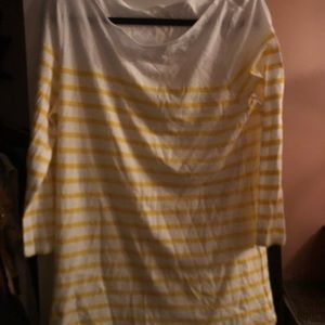 Yellow and white stripe 3/4 sleeve shirt